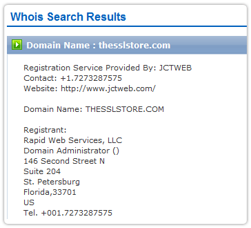 The SSL Store Whois Record